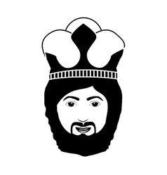 Silhouette head king with beard and crown vector