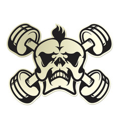 skull emblem with dumbbells vector image