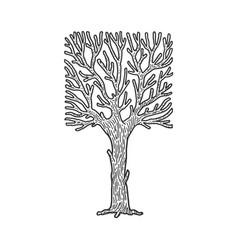 Square crown tree sketch vector