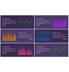statistics and analytics poster diagrams vector image