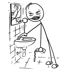 Stickman cartoon of tired or sick man cleaning vector