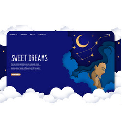 sweet dreams website landing page design vector image