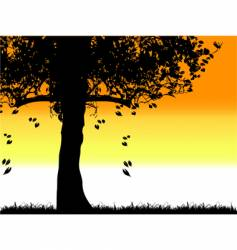Tree silhouette old grass summer vector