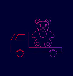 truck with bear line icon with gradient vector image