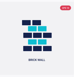 Two color brick wall icon from construction tools vector