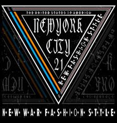 typography new york tee logo design vector image