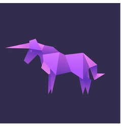 unicorn animals origami vector image