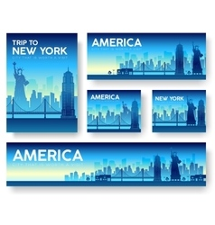 Usa landscape banners set design vector
