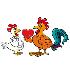 valentine card with hen an rooster in love vector image