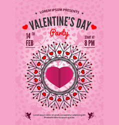 valentines day party invitation or poster design vector image