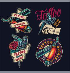 vintage tattoo salon colorful emblems vector image