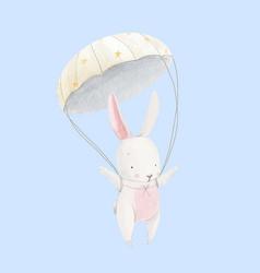 Watercolor baby rabbit skydiver vector