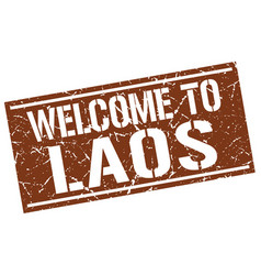 Welcome to laos stamp vector