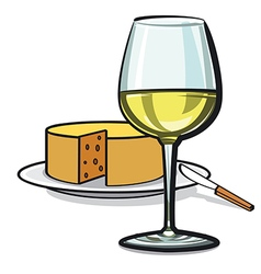 White wine and cheese vector
