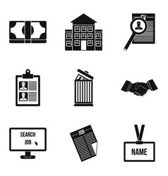 Work solidarity icons set simple style vector