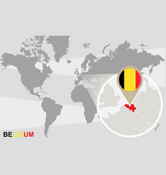 world map with magnified belgium vector image