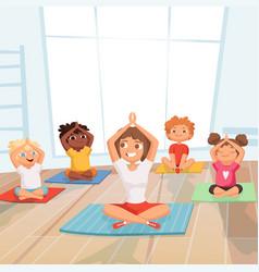 yoga kids group children making exercises vector image