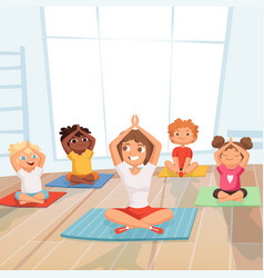 yoga kids group children making exercises with vector image