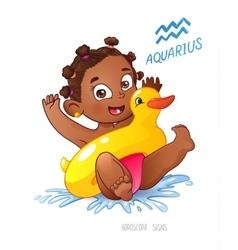 Zodiac sign aquarius child vector