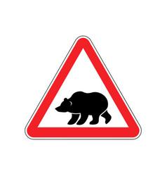 bear warning sign red predator hazard attention vector image vector image