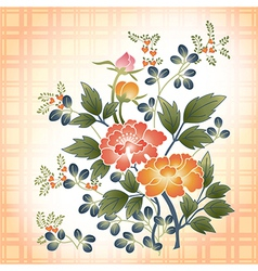 embroidered Japanese style floral bouquet on plaid vector image
