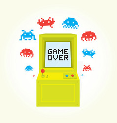 game over sign on retro arcade game machine vector image