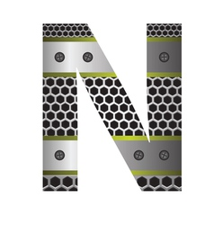 perforated metal letter N vector image