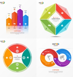 Set of infographic templates with 4 options vector