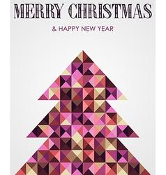 Vintage mosaic Christmas pine tree vector image