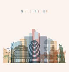 wellington skyline detailed silhouette vector image
