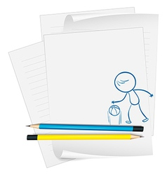 A paper with a sketch of a basketball player vector image vector image