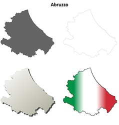 Abruzzo blank detailed outline map set vector