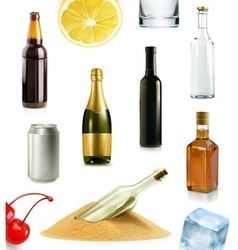 Alcohol drink in bottle icons set vector image