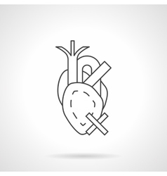 Heart diseases flat line icon vector image vector image