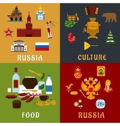 Russian travel and culture flat icons vector image