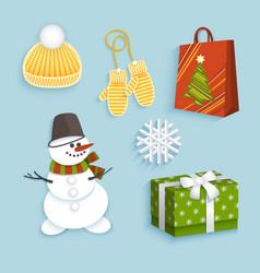 winter christmas symbols flat set vector image
