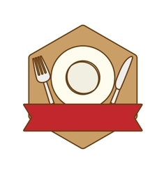 Brown table with plate fork and knife vector image