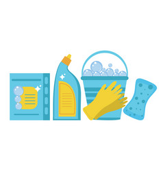 Cleaning supplies cleaning tools set household vector