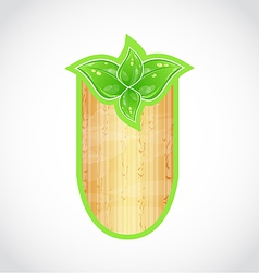 Wooden board with eco green leaves vector image vector image