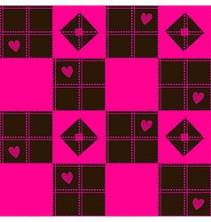 Chessboard Pink Blown Heart Valentine vector image