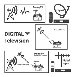 digital television concept with texture background vector image vector image