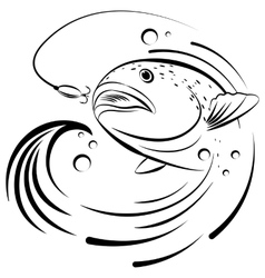 Fish jumping out of the water to grab the bait vector image vector image