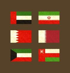 Flags of UAE Iran Bahrain Qatar Kuwait and Oman vector image vector image