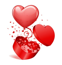 heart gift and balloon vector image vector image