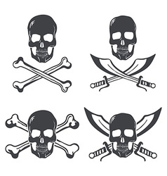 Pirate flag Design Elements Skull with bones and vector image