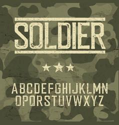 Soldier alphabet Military deisgn set Army design vector image