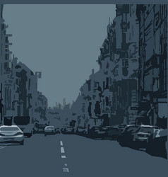 Abstract dark background city avenue with cars vector