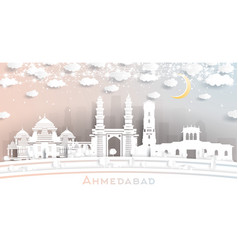 Ahmedabad india city skyline in paper cut style vector