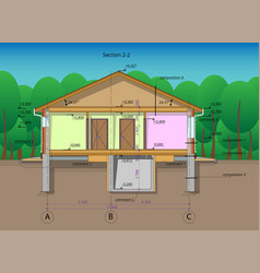 Architectural section of a one-storey residential vector