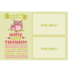 Baby Arrival Card with Cute Owl vector image